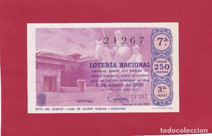 LOTERIA NACIONAL SORTEO 1 DE 1965 RUTA DEL QUIJOTE CASA DE ALONSO QUIJADA ESQUIVIAS