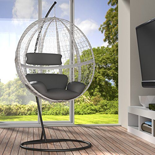 Fresh TecTake Garden swing chair with standing steel frame cushions poly rattan hanging pod white
