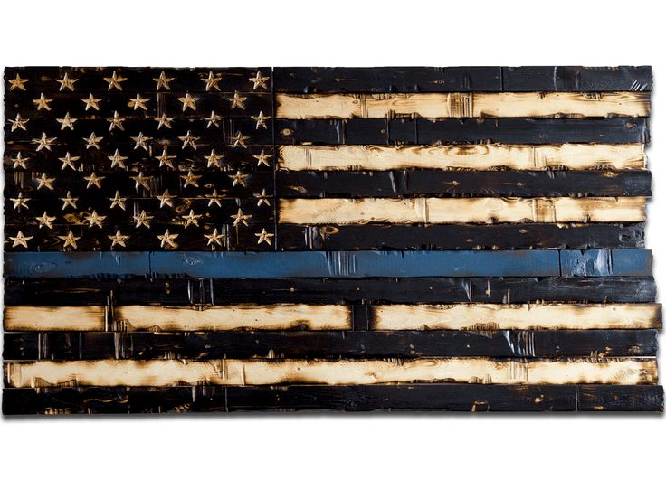 Wood Thin Blue Line Flag (American Police Flag, 60x32)