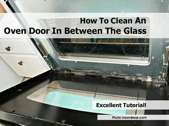 Clean oven glass door