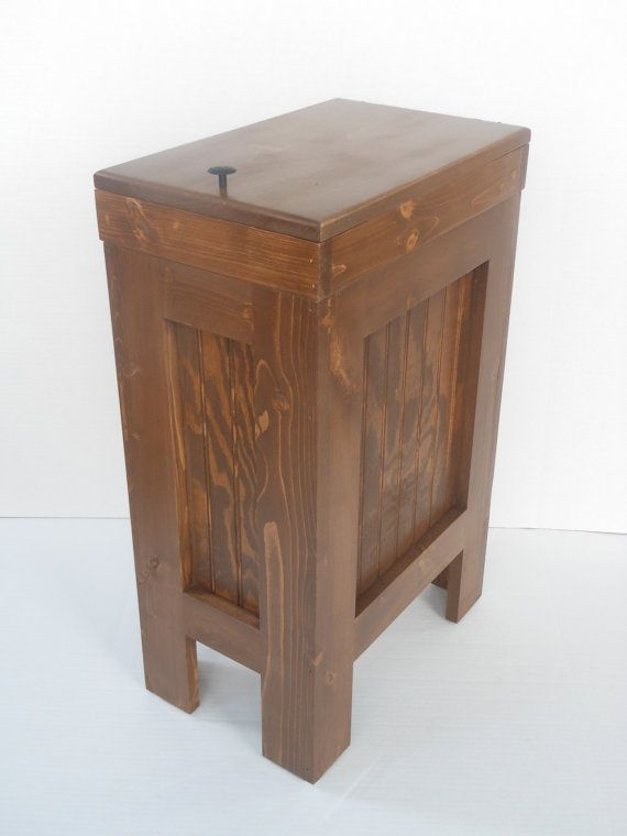 Wood Wooden Kitchen Garbage Can Trash Bin American Walnut Stain Solid