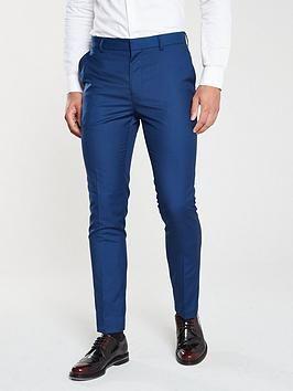 V By Very Pv Stretch Slim Suit Trousers – Blue, Blue, Size 32, Length Long, Men – Blue – 32, Length Long