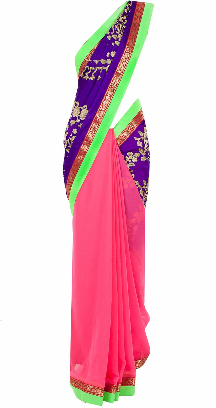 Purple patched embroidered sari available only at Pernia's Pop-Up Shop.