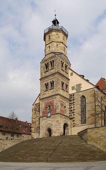 Schwäbisch Hall, the medieval church of St Michael with the great stairway.