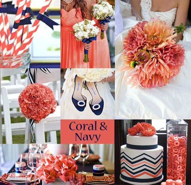 Coral and Navy Wedding Ideas. Coral and Blue Wedding Ideas.