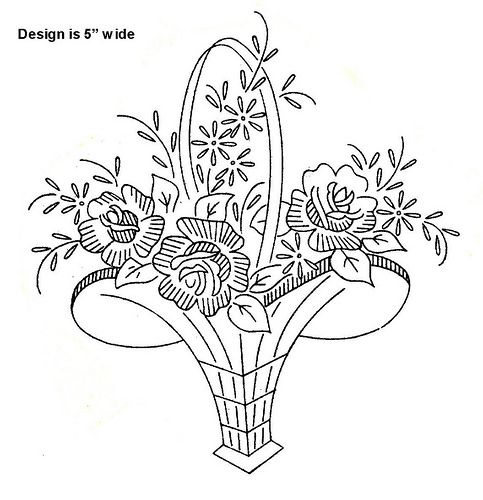 basket of flowers embroidery pattern