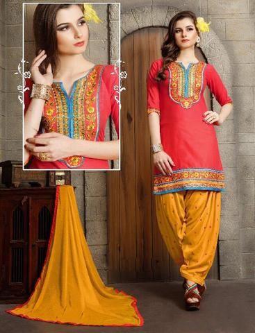 KESARIYA FASHION-Pink and Yellow Color Cotton Unstitched Salwar Kameez - 1237 - 4350