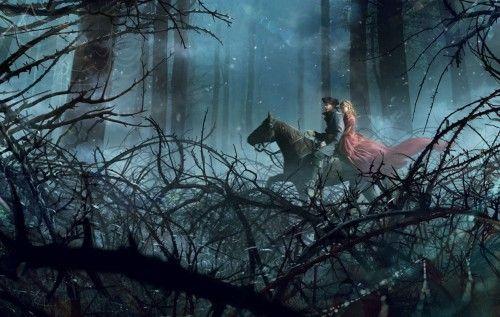 Обои платье, парень, девушка, деревья, лес, лошадь на рабочий стол | 150291
