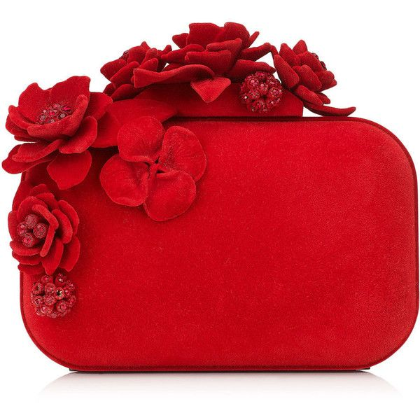 Red Flocked Metal Clutch Bag with Flocked and Crystal Flowers CLOUD ($1,795) ❤ liked on Polyvore featuring bags, handbags, clutches, red handbags, crystal purse, jimmy choo clutches, crystal handbag and crystal clutches