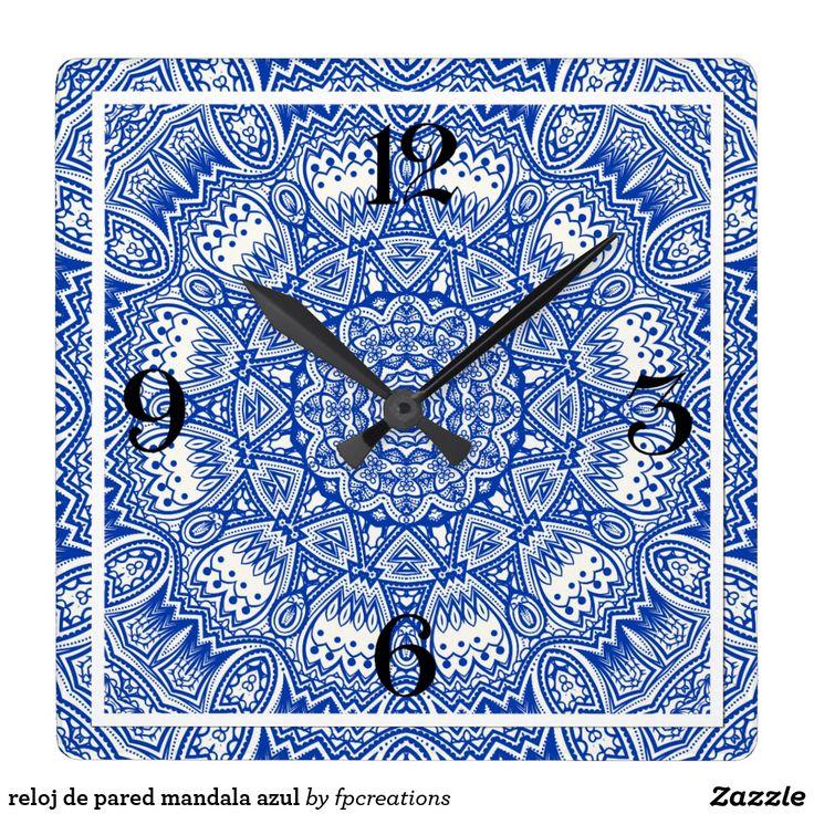 reloj de pared mandala azul