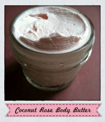Coconut oil is whipped into a light and fluffy body body and is scented with Rose Essential oil.