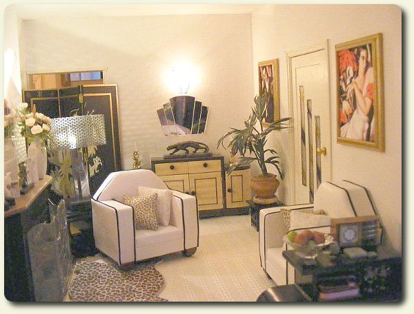 Custom Miniature Art Deco Living Room Decor For A Recreation Of Vintage House