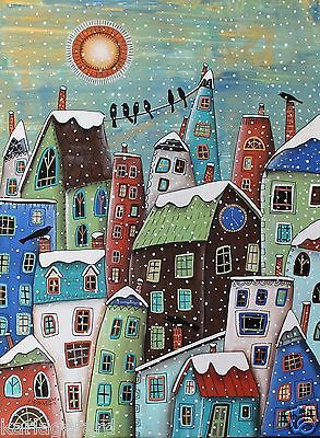 Winter Time CANVAS PAINTING 18x24inch FOLK ART ORIGINAL Houses Birds Karla G...Brand new painting, now for sale...