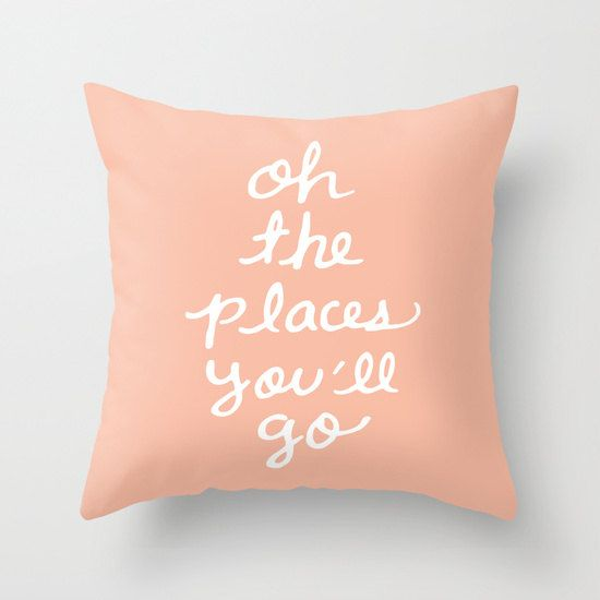 Oh The Places You'll Go Pillow Cover - Peach Cushion Cover - Pastel Peach Throw Pillow - Accent Pillow - Nursery Pillow - By Aldari Home