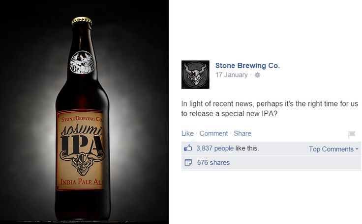 STONE BREWING CO. TAKES SHOTS AT CRAFT-BEER INDUSTRY INFIGHTING Fight label litigiousness with made-up labels.