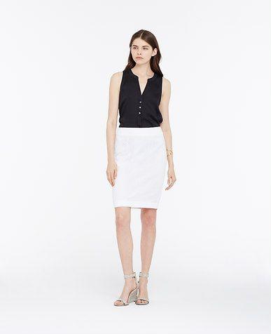 Cotton Eyelet Pencil Skirt