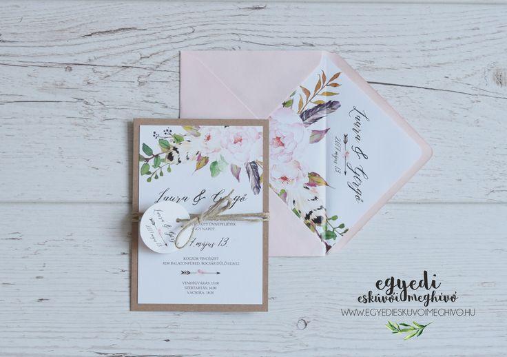 Floral-rustic vintage wedding invitaion / Virágos-natúr vintage esküvői meghívó