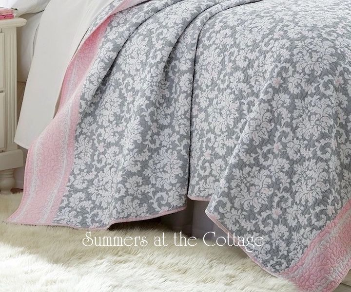 DOVE GRAY DAMASK PINK CABANA STRIPE QUILT SET - QUEEN