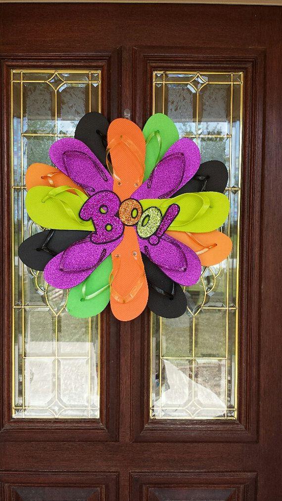 Beautiful Handmade Halloween Flip Flop Wreath by TheFlipFlopDaisy, $50.00