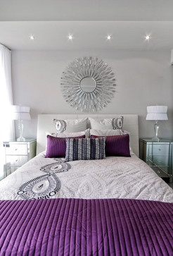 KIm Bartley Design contemporary bedroom.. very pretty.... I like the soft gray with the purple... and the overall clean and simple look of the room.