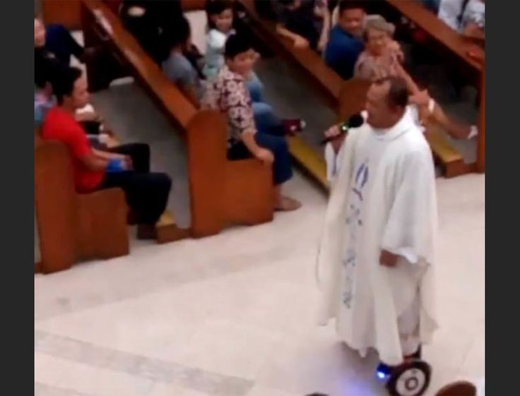 One priest in The Philippines got everybody's attention — and got himself suspended — after giving a sermon while cruising through the church... on a hover