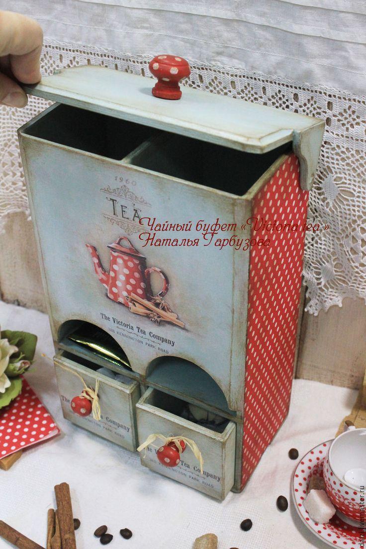 """Купить Чайный буфетик """"Victoria Tea"""" - бордовый, буфет, чайный домик, чайный домик декупаж"""