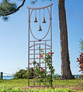 Three-Bell Trellis - asian - garden sculptures - by Plow & Hearth.       Note to myself: 2 cedar 8'  pickets, pieces of copper tubbing, 3 bells, chain, pain = 20 bucks or so!! Gonna make it!!!