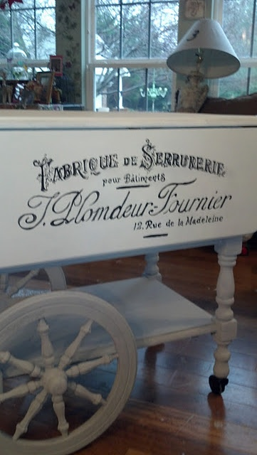 a french makeover of a plain tea cart.  c'est tres belle