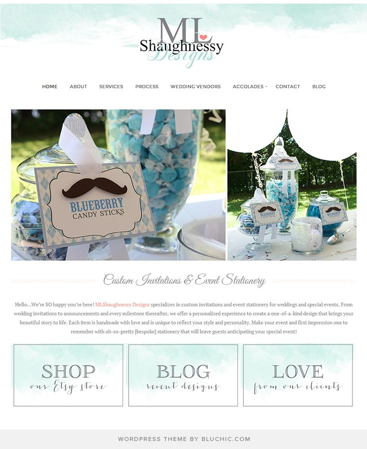 Website design for custom invitations and event stationer. Using Geraldine WordPress Theme http://www.bluchic.com/shop/wordpress-themes/geraldine-theme