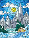 Stained glass illustration with a lonely house on a background of snowy pine forests, lake, mountains and day-Sunny sky with clou Stock Image