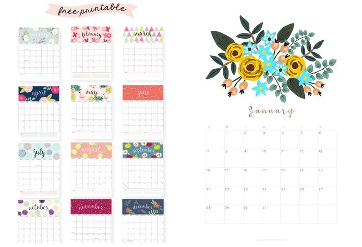 Calendarios #gratis para imprimir via AcotioDeco - Anabelhttp://acotiodeco.es/2018/01/organizar-y-planificar-el-2018-calendarios-gratis/