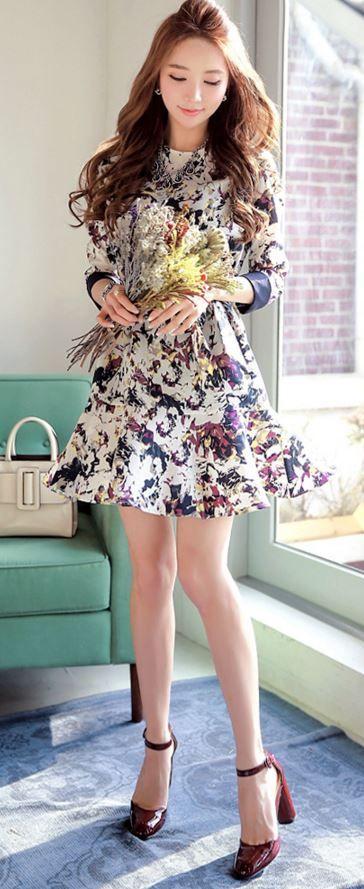 StyleOnme_Spring Floral Flare Dress #dress #floral #flowery #girly #feminine #louisangel