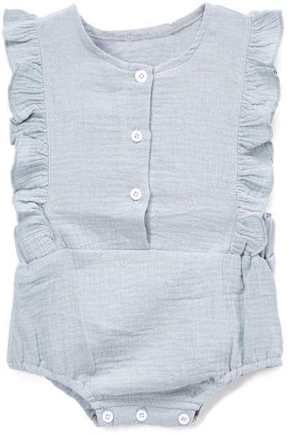 af061bc9 Light Blue Button-Accent Side-Ruffle Bodysuit - Newborn & Infant ...