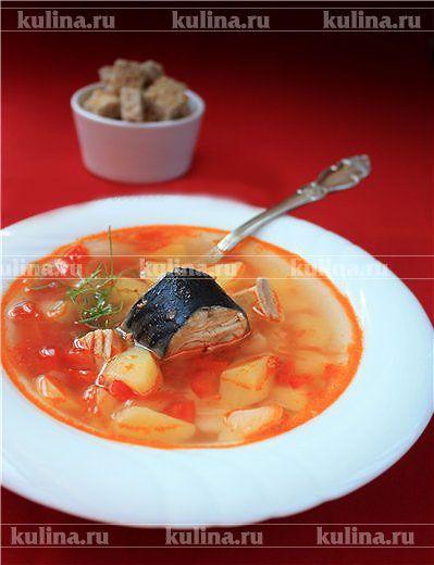 Суп с картофелем и скумбрией - рецепт с фото
