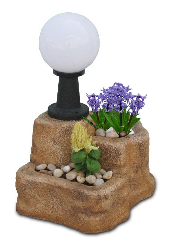 Lampada da giardino con base media in finta roccia, old stone