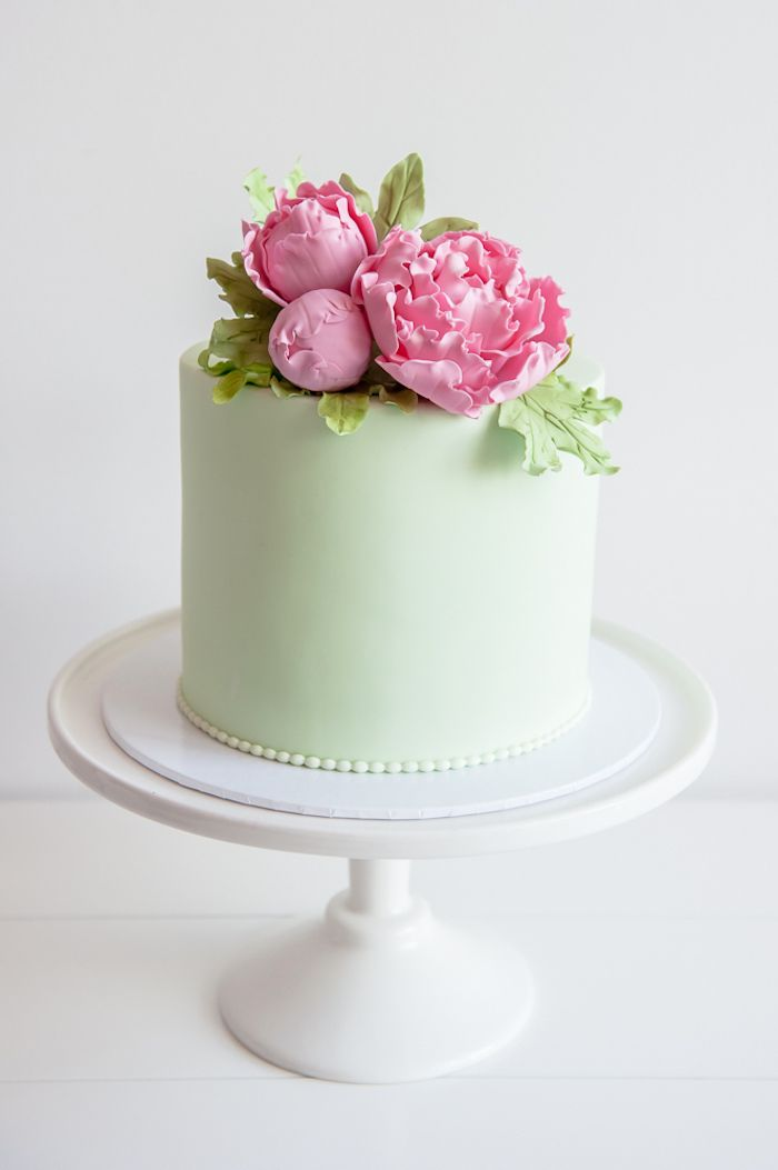 Lime green cake topped with fancy pink sugar flowers from a Flower Shop Birthday Party on Kara's Party Ideas | KarasPartyIdeas.com (20)