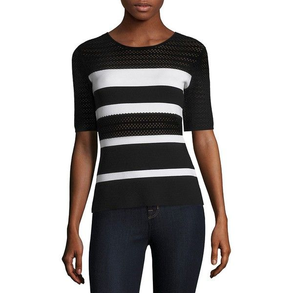 Bailey 44 Staggered Start Stripe Sweater ($134) ❤ liked on Polyvore featuring tops, sweaters, crewneck sweater, short sleeve sweater, striped pullover sweater, short sleeve pullover sweater and crew-neck sweaters