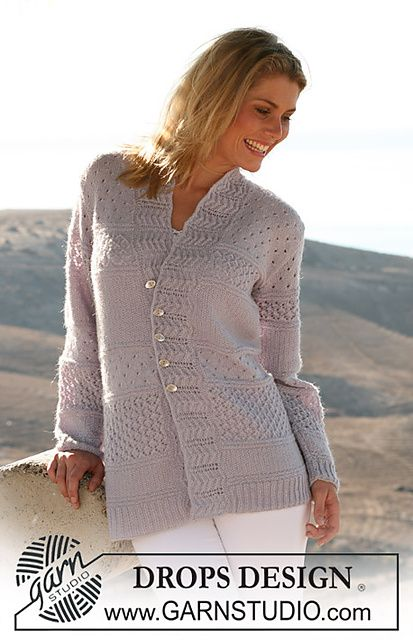 """Ravelry: 106-10 Jacket in """"Alpaca"""" with stripes in textured patterns pattern by DROPS design -  free pattern"""