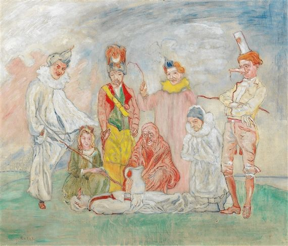 Artwork by James Ensor, Baptême de masques, Made of oil on canvas, 1925 - 1930