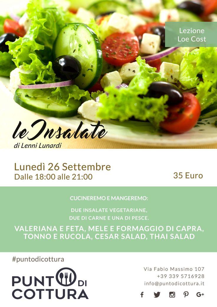 insalata | cucina | lezione di cucina | cooking lesson | valeriana e feta | mele e formaggio di capra | tonno e rucola | cesar salad | thai salad | poster | locandina