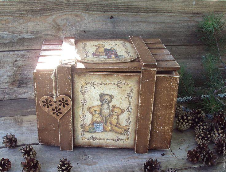 """Купить Короб для игрушек """"Любимые мишки"""" - коричневый, короб для игрушек, короб для хранения, для детской комнаты"""