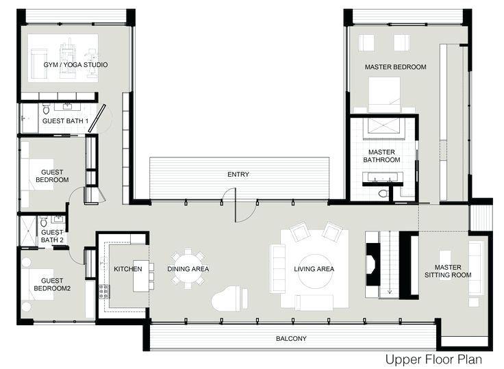 Floor Plan Floor Design Home Log Middle Builder Homes Small Pavilion Af U Shaped Home With Unique Floor Pla Unique Floor Plans U Shaped House Plans House Plans