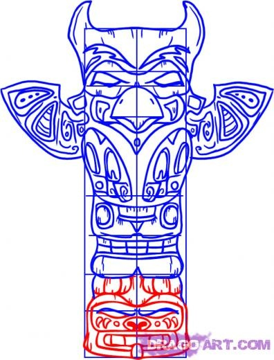 how to draw a totem pole dear