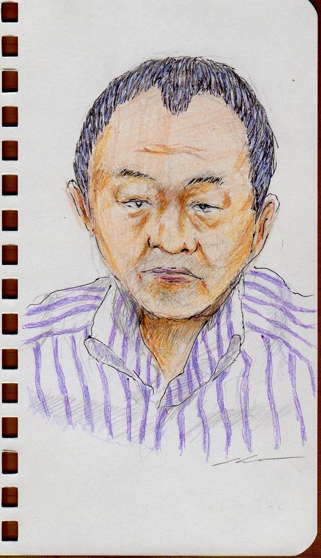 This is a sketch of the man who put on a purple striped shirt in the office in the company I drew.