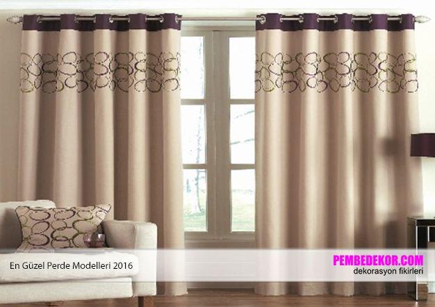 Krem ve kahve tonlarında dekore edilmiş salon ve oturma odalarında  bu tarz perdeleri kullanabilirsiniz. Uzun perdeler diğerlerine göre daha hoş durmaktadır.