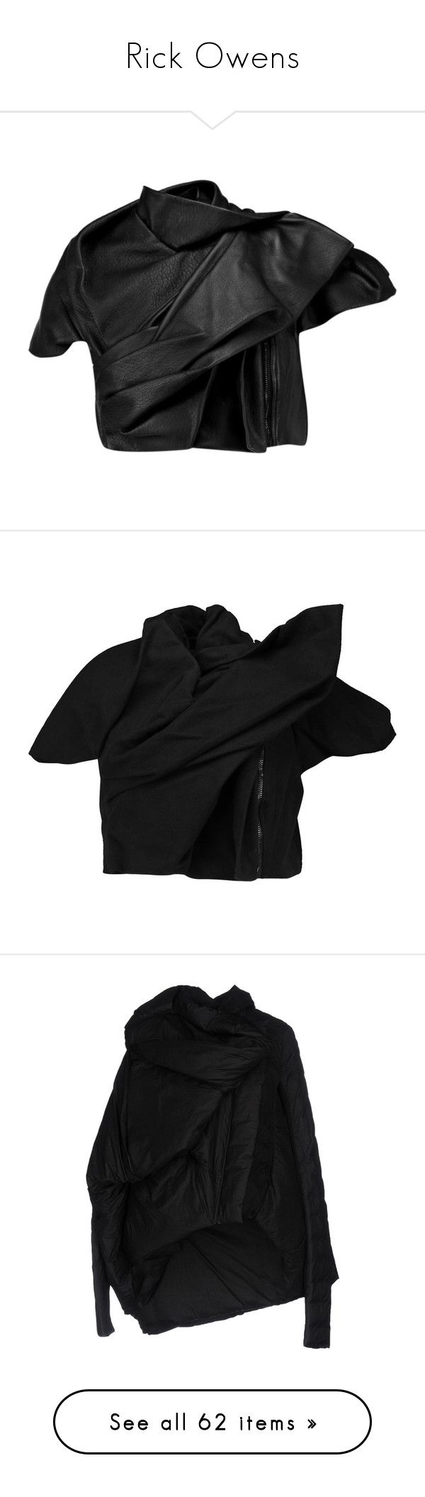 """""""Rick Owens"""" by mermaiden ❤ liked on Polyvore featuring outerwear, jackets, black, draped leather jackets, cropped leather jacket, drape jacket, real leather jackets, 100 leather jacket, slim fit jackets and rick owens jacket"""