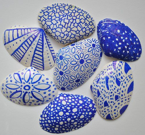 Turn boring shells into something pretty with sharpies