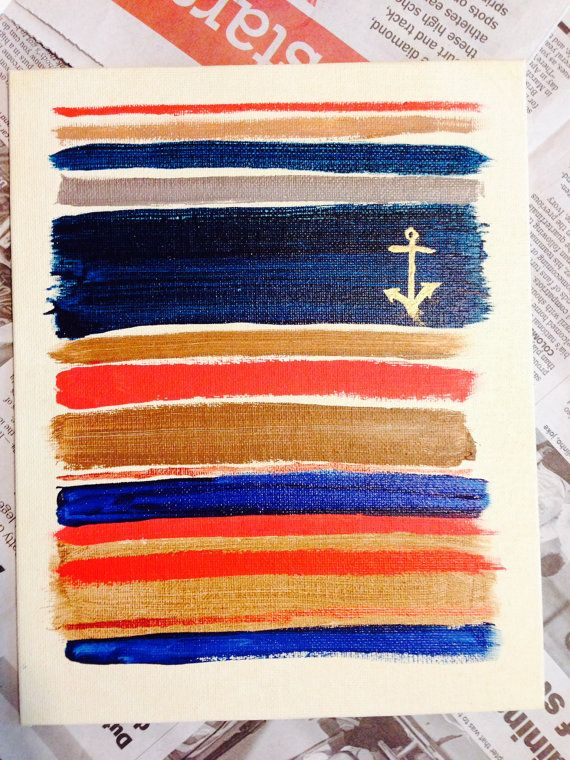 Canvas Board Abstract Stripes with Anchor by TKoehlerArt on Etsy