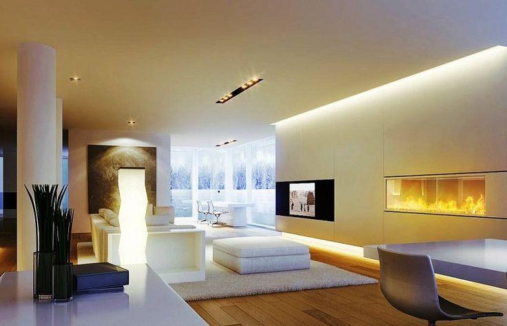 éclairage LED indirect en corniches lumieuses dans le salon design  http://www.justleds.co.za