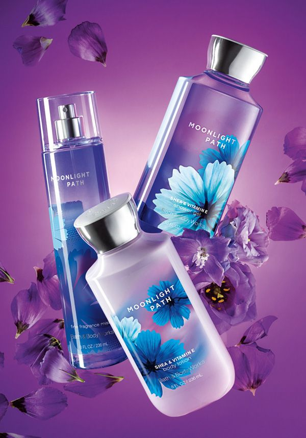 Cozy up to moonlight! Inspired by moonlit walks in lush gardens, Moonlight Path® is a soft blend of lilies, sheer lavender & musk. #MoonlightPath
